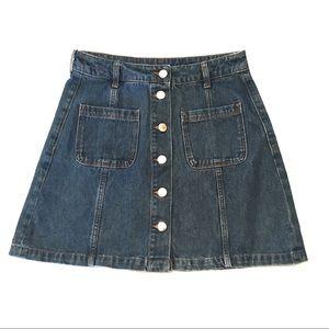 H&M | Blue Denim Jean Button Front Pockets Skirt 4